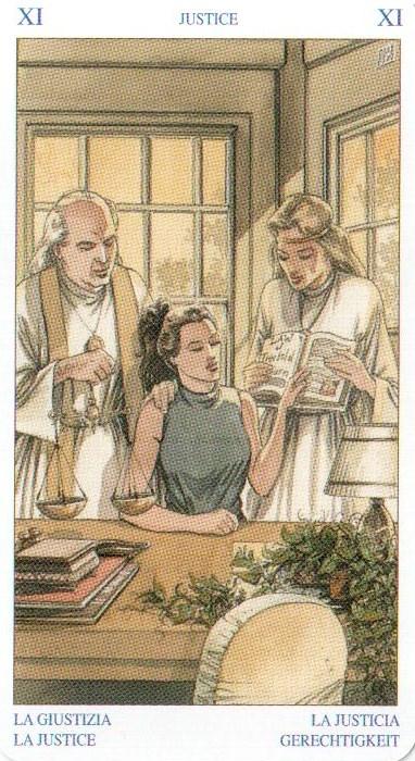 XI (11) Правосудие - Старший Аркан Таро Белой и Черной Магии. на этой