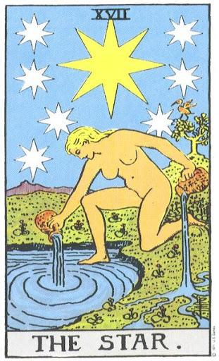 Огромная, сверкающая восемью лучами звезда в окружении семи меньших - также восьмилучевых звезд. Не переднем плане обнаженная женская фигура. Ее левое колено опирается о землю, правая стопа в воде. Из двух больших сосудов она изливает Воду Жизни, орошая море и сушу. За ее спиной виднеется невысокий холм, а справа растет кустарник или дерево с сидящей на нем птицей. Фигура символизирует вечную молодость и красоту. Звезда - это Пламенеющая Звезда, которую можно встретить в масонской символике и с которой ее нередко путают. Женщина щедро оделяет живую природу субстанцией небес и четырех стихий. Девизами этой карты справедливо являются: «Воды жизни свободно текут» и «Дары Духа». Несколько довольно примитивных толкований можно свести к тому, что это карта надежды. На других уровнях эта карта считается символом бессмертия и внутреннего света. Для большинства же подготовленных умов эта фигура предстанет как образ Истины без покрова, сияющей своей бессмертной красотой, изливающей на воды души некую часть своих бесценных сокровищ. Однако в действительности это Великая Матерь каббалистической сефиры Бина (высшее Понимание), оделяющая своими дарами Сефирот, расположенные ниже, в той мере, в какой они способны воспринять ее поток. Прорицательные значения: Убыток, кража, лишения, заброшенность; по другой версии - надежда и светлые перспективы. Перевернутая карта: Бесцеремонность, высокомерие, бессилие.