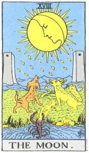От некоторых общепринятых разновидностей эту карту отличает то, что луна прибывает в так называемую сторону милосердия, то есть вправо от зрителя*. У нее шестнадцать главных и шестнадцать второстепенных лучей. Эта карта представляет жизнь воображения, отрешенную от жизни духовной. Путь, пролегший между двумя башнями, ведет в неизвестность. Пес и волк суть страхи природного разума, оказавшегося в начале пути, освещаемого лишь отраженным светом. Последняя фраза служит ключом к несколько иной форме символизма. Интеллектуальный свет есть отражение, и вне пределов его досягаемости таится неизвестность, которую он просто неспособен высветить. Он проливает свет на нашу животную природу, типы которой представлены ниже, - на пса, волка и на существо, выползающее Из водных глубин, - ту безымянную и наводящую ужас тенденцию, которая даже низменнее дикой твари. Существо стремится достигнуть проявления, выползая из бездны вод на земную твердь, но неизменно вновь погружается туда, откуда появилось. Лик разума спокойно взирает на разыгравшееся внизу смятение, каплями росы ниспосылая на землю мысли. Его послание таково: «Мир вам и покой», и, вероятно, на животную природу действительно снизойдет покой, а затаившаяся бездна перестанет извергать чудищ из своих глубин. Прорицательные значения : Скрытые враги, опасность, клевета, мрак, ужас, обман, оккультные силы, ошибка. Перевернутая карта : Переменчивость, непостоянство, молчание, обман и ошибки в мелочах. * Колонна Милосердия па каббалистическом Древе Жизни расположена справа.