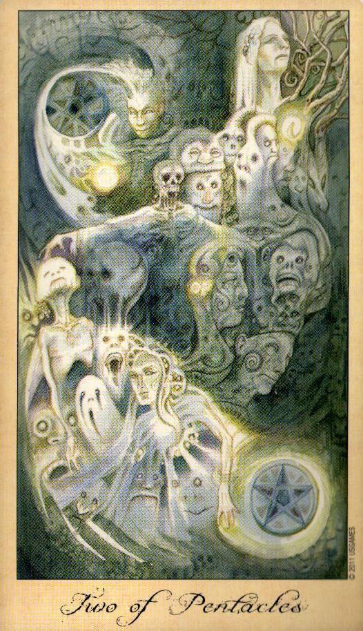 2 Пентаклей Таро Призраков и Духов Ghosts & Spirits Tarot