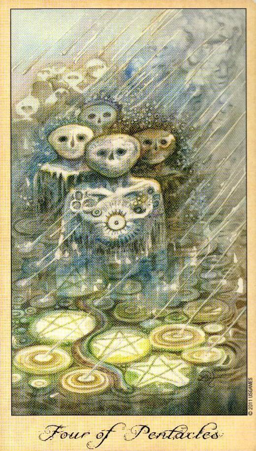 4 Пентаклей Таро Призраков и Духов Ghosts & Spirits Tarot