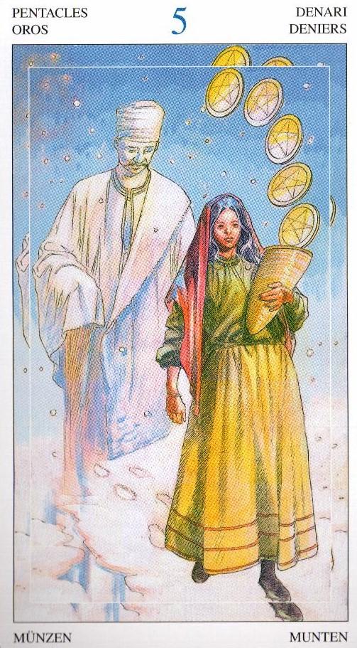 5 Пентаклей Таро Мир Духов Tarot of the Spirit World