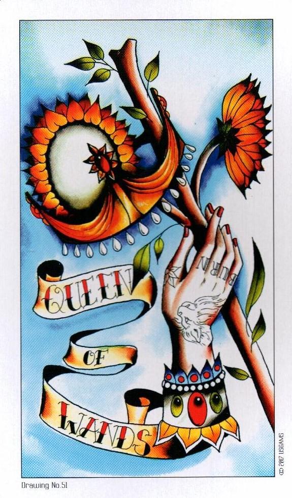 Королева Жезлов Eight Coins Tattoo Tarot