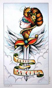 Королева Мечей Eight Coins Tattoo Tarot