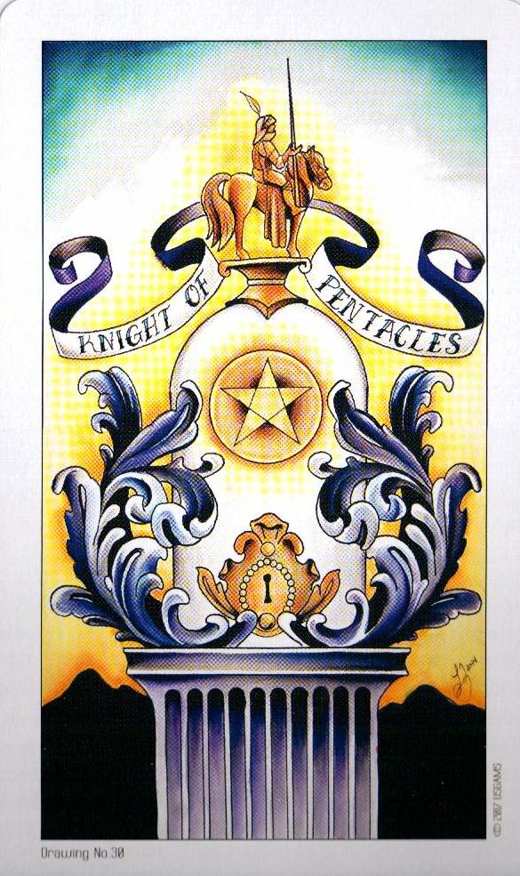 Рыцарь Пентаклей Eight Coins Tattoo Tarot