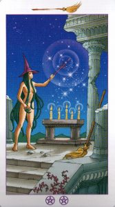 Луна (Рыцарь) Метл (Масть Мечей) Ведьмовское Таро (Таро Ведьм) Witchy Tarot
