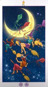 Луна (Рыцарь) Факелов (Жезлы)Ведьмовское Таро (Таро Ведьм) Witchy Tarot