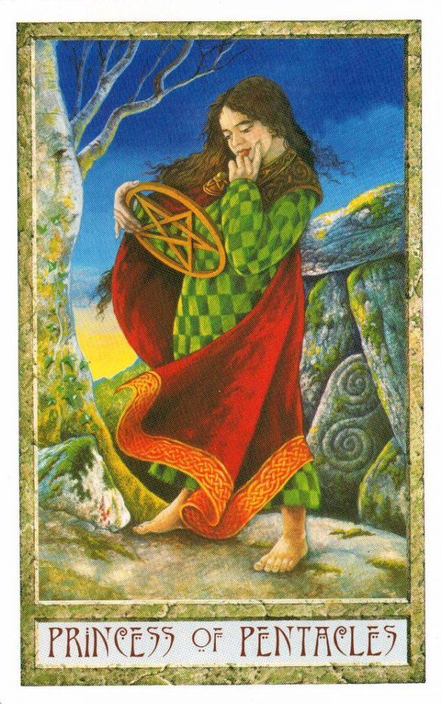Принцесса Пентаклей Таро Друидов The Druid Craft Tarot