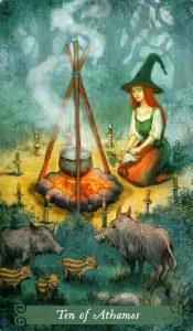 10 Аутэмов (Ножей) The Green Witch Tarot (Таро Зеленой Ведьмы)