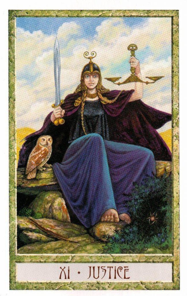 11 Аркан Правосудие Таро Друидов The Druid Craft Tarot