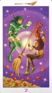 2 Метл (Масть Мечей) Ведьмовское Таро (Таро Ведьм) Witchy Tarot