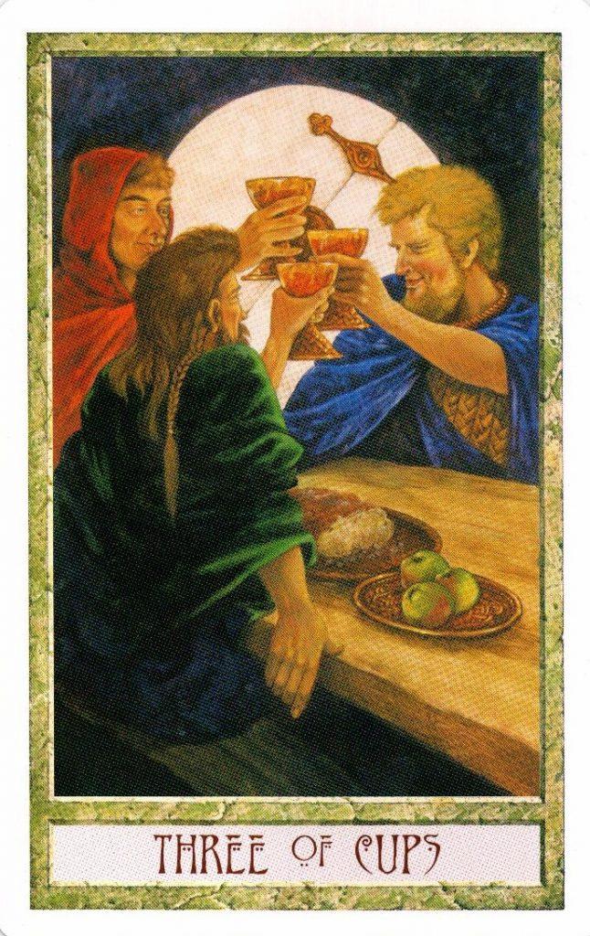 3 Кубков Таро Друидов The Druid Craft Tarot