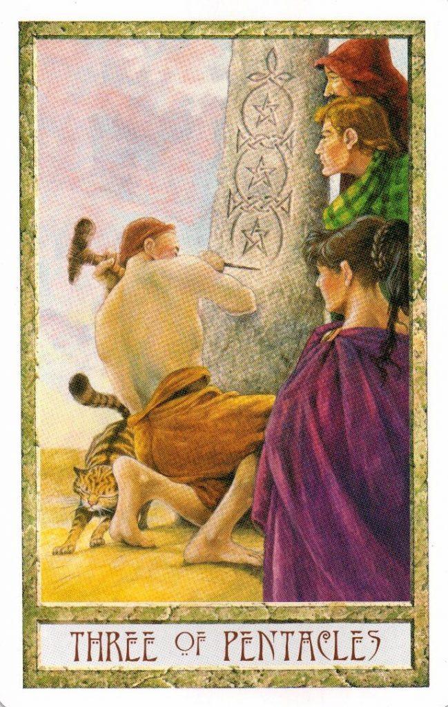 3 Пентаклей Таро Друидов The Druid Craft Tarot