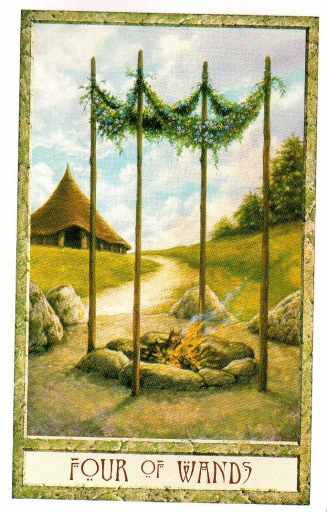 4 Жезлов Таро Друидов The Druid Craft Tarot