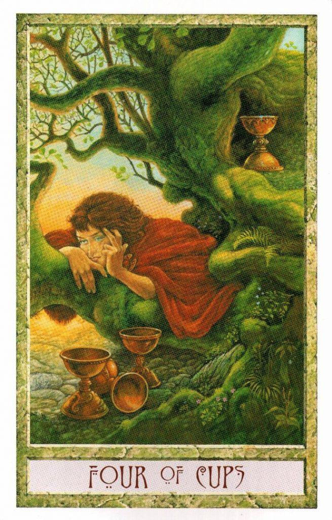 4 Кубков Таро Друидов The Druid Craft Tarot