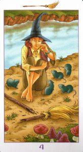 4 Метл (Масть Мечей) Ведьмовское Таро (Таро Ведьм) Witchy Tarot
