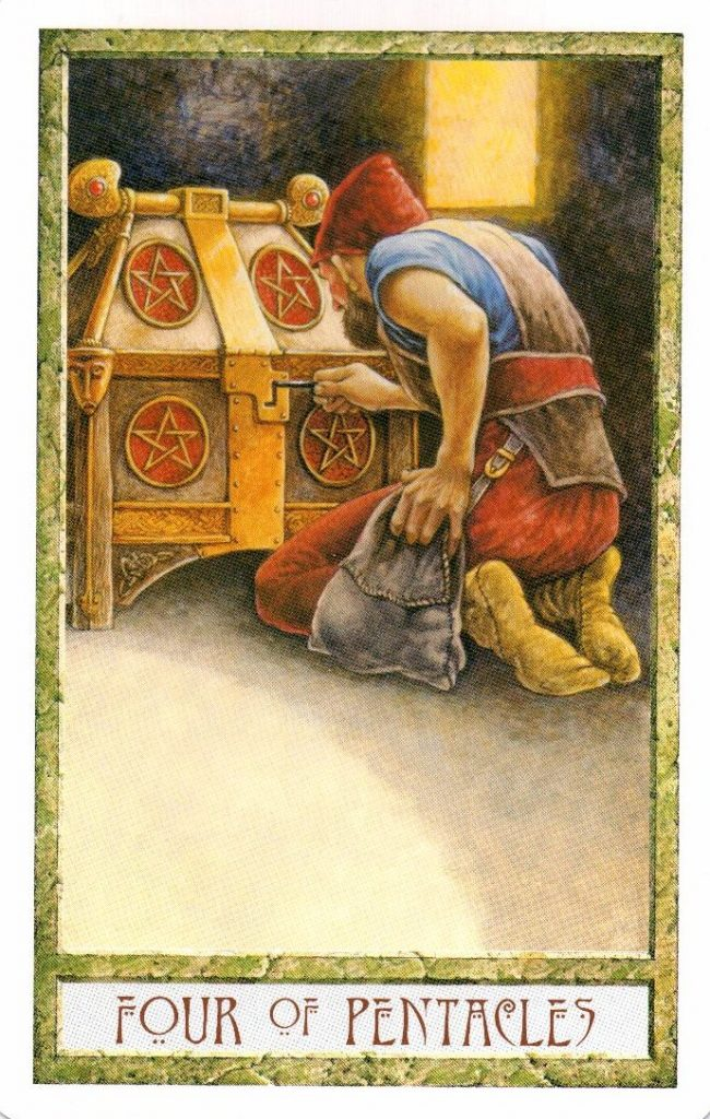 4 Пентаклей Таро Друидов The Druid Craft Tarot