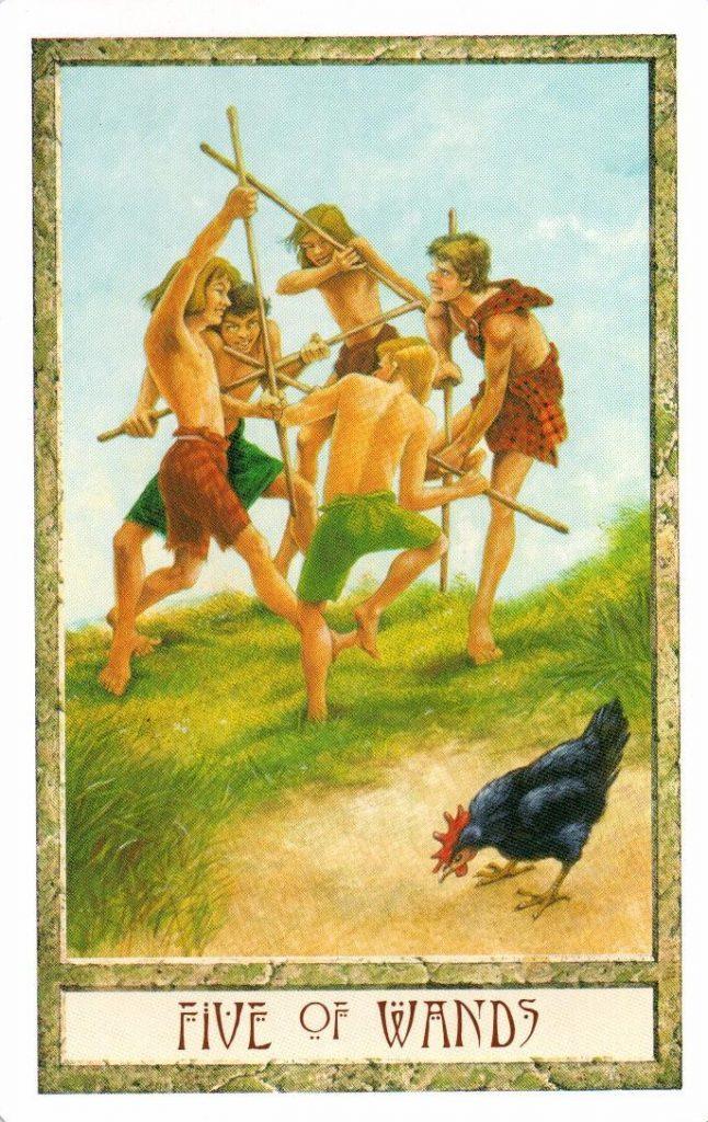 5 Жезлов Таро Друидов The Druid Craft Tarot