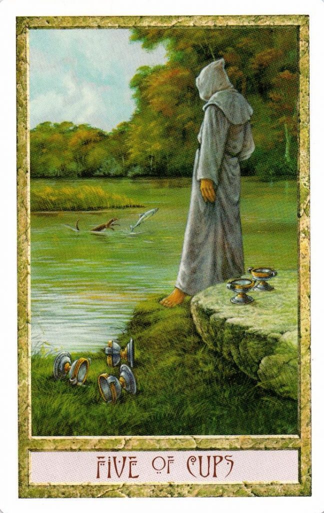 5 Кубков Таро Друидов The Druid Craft Tarot