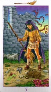 5 Метл (Масть Мечей) Ведьмовское Таро (Таро Ведьм) Witchy Tarot