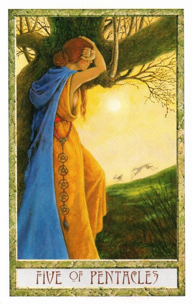 5 Пентаклей Таро Друидов The Druid Craft Tarot