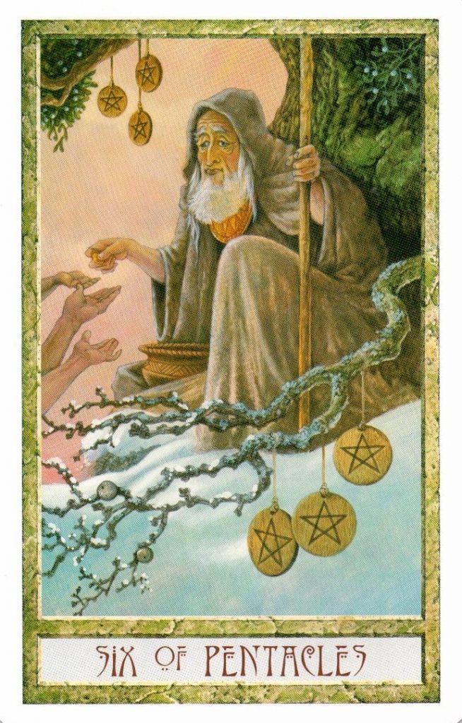 6 Пентаклей Таро Друидов The Druid Craft Tarot