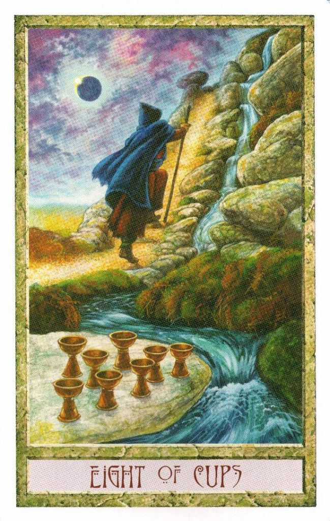 8 Кубков Таро Друидов The Druid Craft Tarot