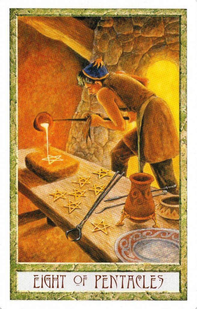 8 Пентаклей Таро Друидов The Druid Craft Tarot