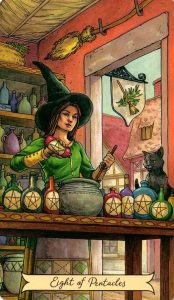 8 Пентаклей Everyday Witch Tarot