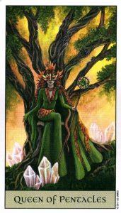 Королева Пентаклей Crystal Visions Tarot