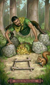 4 Пентаклей Modern Spellcaster's Tarot