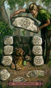 8 Пентаклей Modern Spellcaster's Tarot
