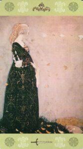 13 Королева Мечей Таро Джона Бауэра John Bauer Tarot