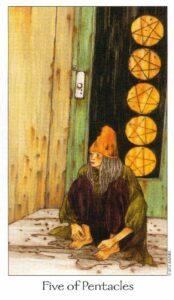 5 Пентаклей Таро Путь Сновидений Dreaming Way Tarot