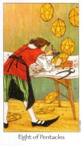 8 Пентаклей Таро Путь Сновидений Dreaming Way Tarot